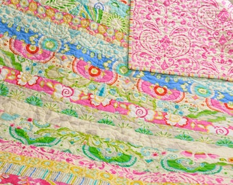 MADE TO ORDER Custom Baby Crib Quilt Girl Blanket Vintage Inspired Shabby Chic Style Kumari Garden Fabric by Dena Design