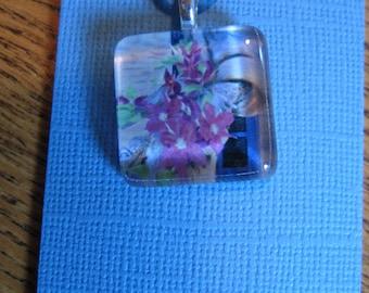 Glass Tile Art Pendant Purple Clematis Vine gift packaged