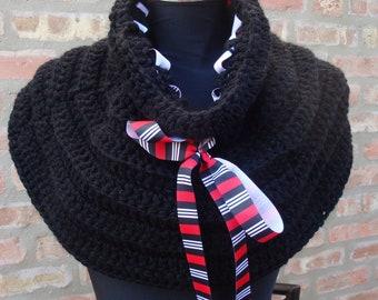 Crochet Black Cowl / Shoulderette