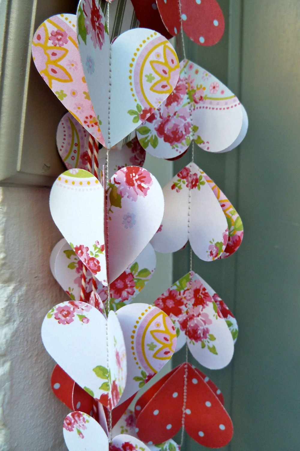 flower garland rustic wedding decor paper garland heart