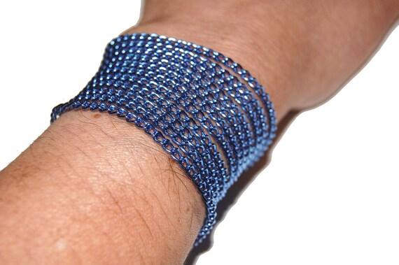 Twilight Blue Anodized Aluminum Curb Chain - 6 Foot Precut Length