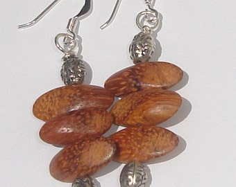 pine trees wood and silver tone beads hand made wire wrapped pierced dangle earrings