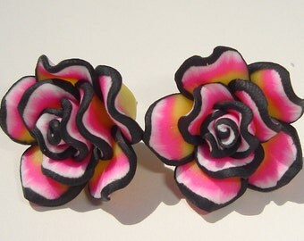 Flower Earrings Pierced Earrings pink black white yellow polymer clay flower pierced post earrings
