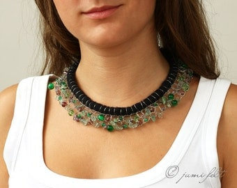Felted  and crocheted collar with green, smoky, clear white, light purple gem stones and glass beads