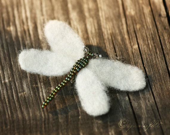 SALE - Felted brooch White Dragon-Fly