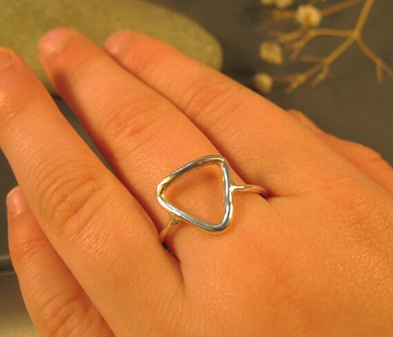 Silver triangle ring, Pyramid ring, Minimalist jewelry geometric, Gifts for teenage girls