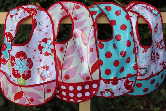 4 Crumb Catcher Pocket BIBS, Red Floral, Pink Leaf, Aqua Dots, Red Paisley- Machine Washable, BPA Free, Girl Bibs