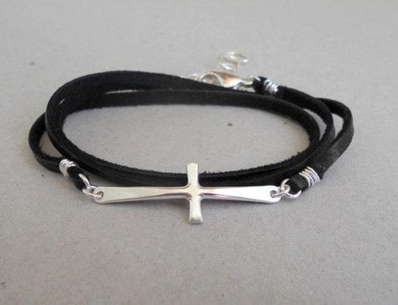 Sideways Cross Bracelet Leather Sideways Cross Bracelet
