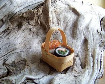 Needle Felted 2 piece Sushi basket