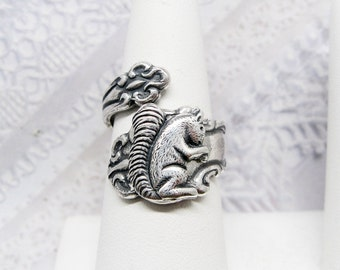 SPOON RING - The ORIGINAL Adjustable Silver Squirrel Spoon Ring - Jewelry by BirdzNbeez -  Wedding Birthday Bridesmaids Gift