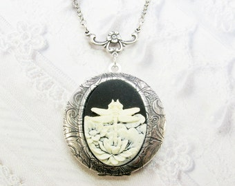 Silver Locket Necklace - The ORIGINAL Silver Dragonfly Lotus CAMEO LOCKET - Jewelry by BirdzNBeez - Christmas Birthday Wedding Gift