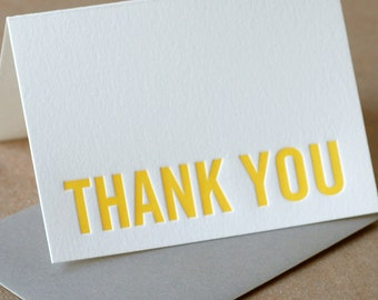 Letterpress Thank You Cards : Sunshine Yellow Modern Block Thank You Notes - box of 100 small folded cards w envelope color choice