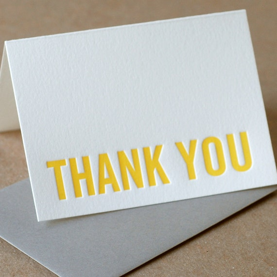 Letterpress Thank You Cards : Sunshine Yellow Modern Block Thank ...