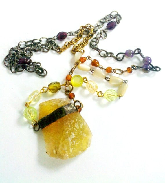 Yellow Fluorite Crystal Healing Pendant Vintage Bead Chain Assemblage Bohemian Gypsy Style Necklace - Creativity