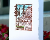 Set of 8 Blank Block Print Canoe and Cabin Cards