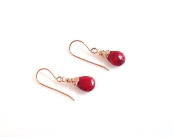 genuine ruby and 14kt rose gold filled dangle earrings - July birthstone