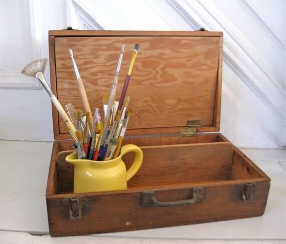 Vintage Artist Paint Box - Rustic Wood - Large