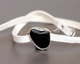 Black White Leather Heart Beach Stone Bracelet Adjustable