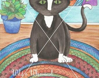 """Cat on a Mat        8.5"""" x 11"""" print"""