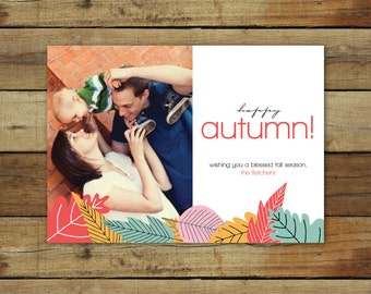Autumn twilight photo card, fall leaves, modern