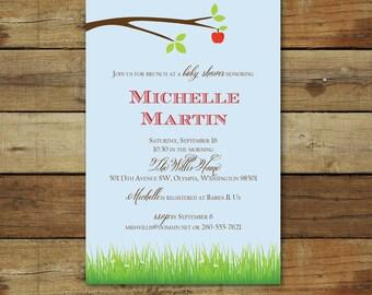 apple theme baby shower invitation, for baby girl or boy, gender neutral