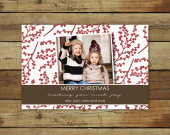 Christmas card, holiday photo card card, red berries