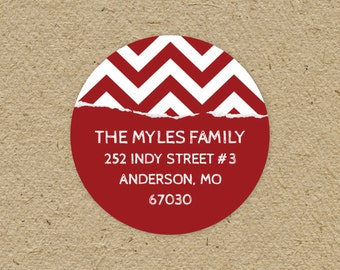 Custom return address labels, round - red chevron gift wrap