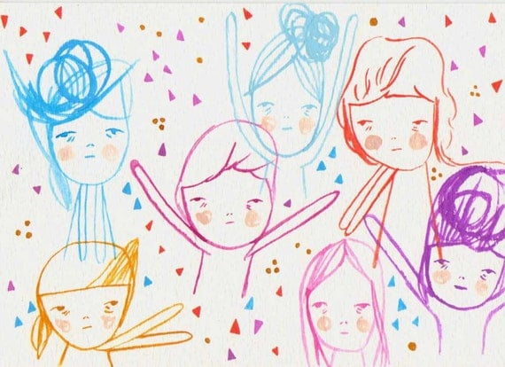 original painting illustration drawing paper- the celebration kids