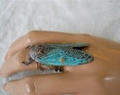 Steampunk Cicada Ring,  Turquoise, Copper & Brown