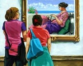 Women viewing Classic painting at art museum archival print from original oil painting
