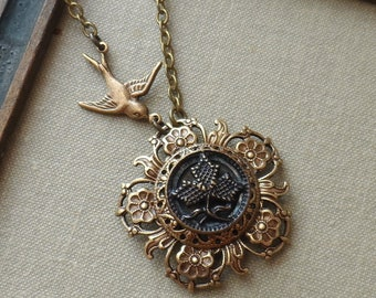 1/2 Price Sale!!! Leaf, Tinted Antique Picture Button Necklace