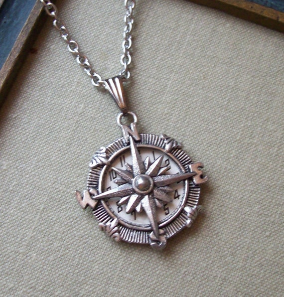 Compass Charm Necklace with Vintage Watch Face