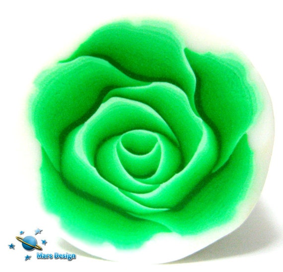 Polymer clay cane green ROSE cane -by Mars