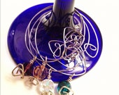 OOAK Handmade Wine Charms - Set of 4 - Faceted Crystal Beads with Geometric Silver Accents