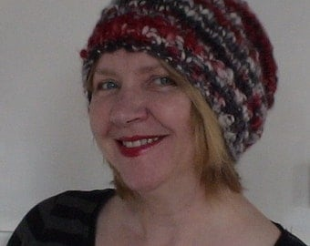 NEW EASY KNIT  Slouchy Beanie thick and thin yarn average size