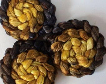 Roving for spinning hand dyed silk luxury blends gradient roving PRE ORDER 2ozs Black Gold of the Sun