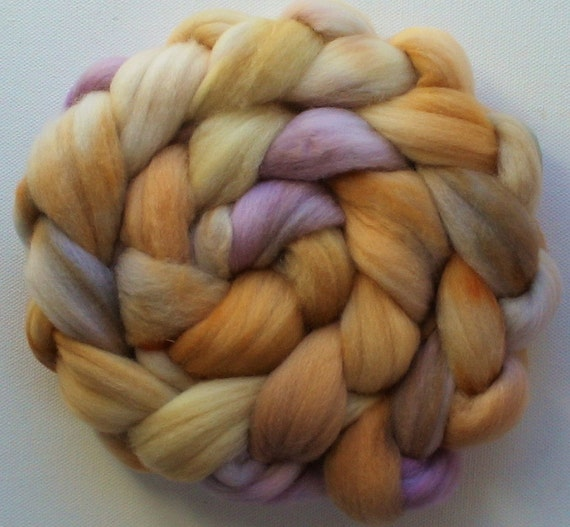 Wool Roving merino spinning or felting Lavender peach 2.5ozs