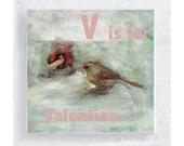 Bird Art - ABC Art - Kids Wall Art - Nursery Art - Alphabet Art - 5x5 Art Block - V is for Valentine - Bird Portrait - Wall Art - Home Decor