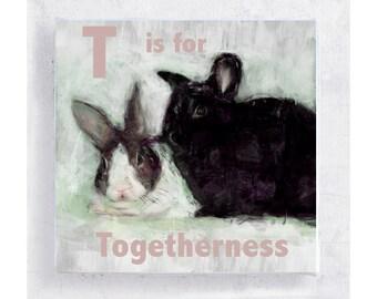 ABC Art - Bunny Art - Kids' Wall Art - Nursery Art  - 5x5 Art Block - T is for Togetherness - Animal Portrait - Wall Art - Home Decor