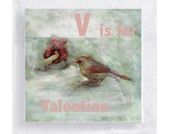 Bird Art - ABC Art - Kids Wall Art - Nursery Art - Alphabet Art - 5x5 Art Block - V is for Valentine - Bird Portrait - Wall Art - Home Decor