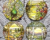A Beautiful View -- Louis Comfort Tiffany Stained Glass Window Mousepad Coaster Set