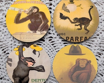A Shrewdness of Apes -- Vintage Monkey Advertising Mousepad Coaster Set