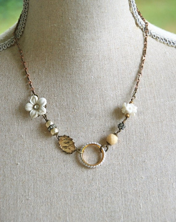 Mon Cheri.shabby chic french floral charm necklace. Tiedupmemories