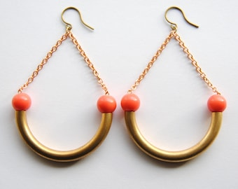 Boho Coral Earrings with Vintage Brass - FREE US Shipping
