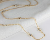 Long Layered Gold Necklace Clear Swarovski Links, Long Gold Necklace, Layered Necklace, Clear and Gold Necklace #702