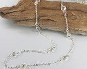 Long Layered Silver Necklace Clear Swarovski Links, Long Silver Necklace, Layered Necklace #720