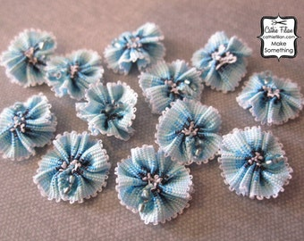 Blue Ombre Flowers - 12 pcs. Scrapbooking Embellishment, Party Favors, Jewelry Making, Hair Bows