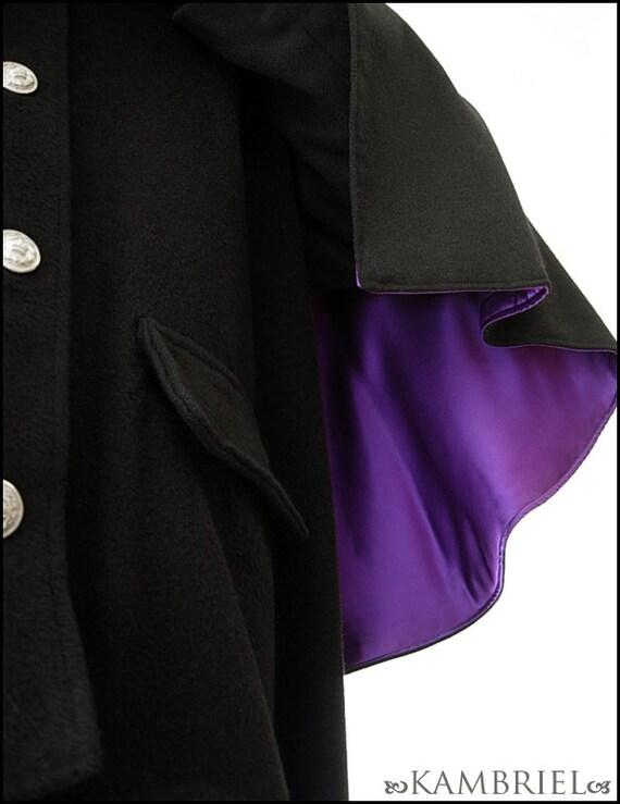 Caligari - Vintage Atrocities Prototype Design - Heavy Black Camel Hair Great Coat with Purple Silk lined Capelet