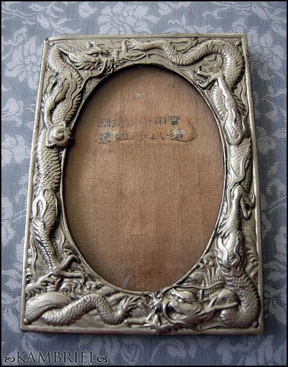 Vintage Estate Japanese Art Nouveau - Silver Metal & Wood Dragon Frame