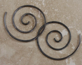 Silver Spiral Earrings Black Sterling Silver Oxidized Antiqued Finish Swirl Koru Statement Size Medium